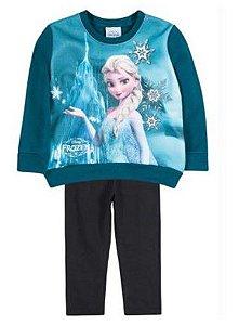 Conjunto de Blusa de Moleton e Legging da Elsa - Disney Frozen - Verde Petróleo e Preto - Brandili
