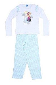 Pijama Anna e Elsa - Disney Frozen - Branco e Azul Claro - Lupo