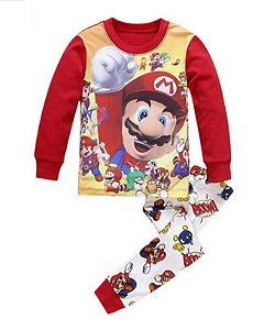 Pijama do Super Mario Bros - Vermelho e Amarelo