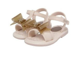 Sandália Grendene Kids - Frozen Shine Baby - Off-White e Dourada