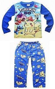 Pijama do Pikachu e Pokémons - Azul e Amarelo