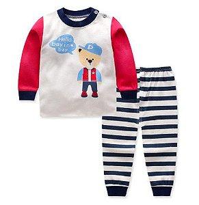Pijama Infantil Ursinho - Listrado Azul Marinho e Branco