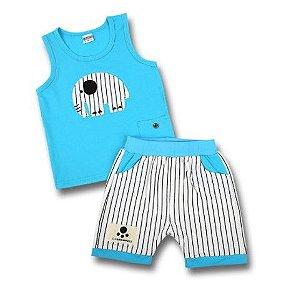 Pijama Bebê Elefante Listrado - Azul e Branco