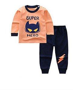 Pijama Super Hero - Azul Marinho e Laranja