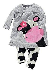 Pijama da Vaquinha Malhada - Cinza e Branco