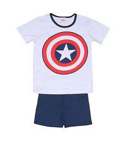 Pijama Infantil Capitão América Marvel - Branco e Azul