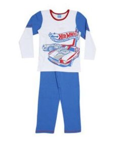 Pijama Infantil Hot Wheels - Manga Raglan - Azul e Branco