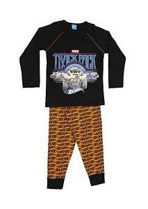 Pijama Infantil Hot Wheels - Preto e Laranja