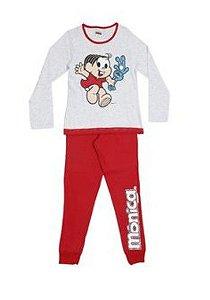 Pijama Mônica e Sansão - Turma da Mônica - Cinza e Vermelho
