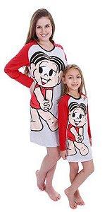 Camisola da Mônica - Cinza e Vermelho - Coleção Mãe e Filha
