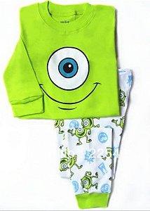 Pijama dos Monstros S/A - Mike Wazowski - Branco e Verde