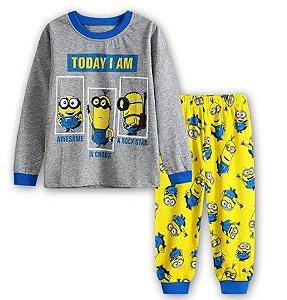 Pijama dos Minions - Today I Am - Cinza e Amarelo