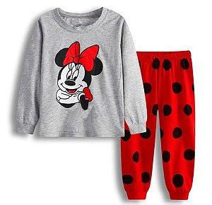 Pijama da Minnie - Cinza e Vermelho - Bolinhas Pretas