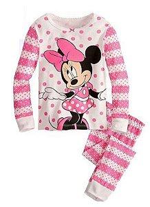 Pijama da Minnie - Rosa e Branco - Bolinhas