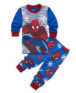 Pijama do Homem Aranha - Teia - Cinza e Azul