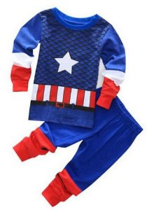 Pijama do Capitão América - Uniforme Oficial - Azul e Vermelho