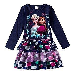 Vestido Bebê Anna e Elsa Frozen - Babados e Tule - Azul Marinho
