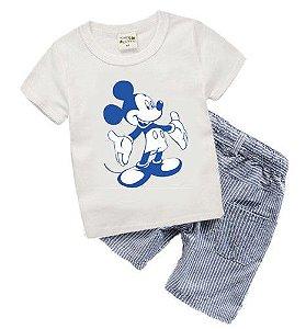 Conjunto Camiseta e Bermuda Listrada - Mickey - Azul e Branco