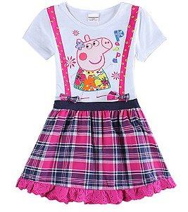 Vestido da Peppa Pig - Xadrez Rosa e Azul Marinho