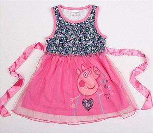 Vestido da Peppa Pig - Laço de Cetim - Rosa