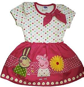Vestido Infantil Peppa Pig e Amigos - Rosa