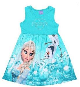 Vestido da Elsa e Olaf - Frozen - Verde e Azul - Brandili
