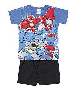 Conjunto de Camiseta e Bermuda DC Super Friends - Liga da Justiça - Preto e Azul - Brandili