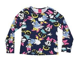 Blusa da Minnie e Margarida - Azul Marinho e Rosa - Cativa Disney