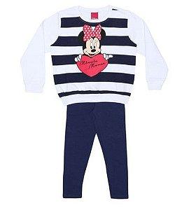 Conjunto de Blusa de Moletom e Legging da Minnie - Branco e Azul Marinho -Cativa Disney