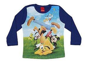Camiseta do Mickey e Amigos - Azul Claro e Azul Marinho - Cativa Disney