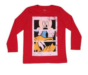 Camiseta Flamê do Mickey e Amigos - Vermelha - Cativa Disney