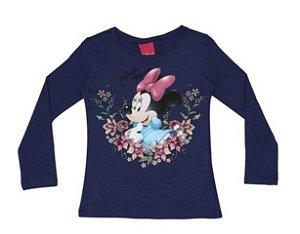 Blusa da Minnie com Flores - Azul Marinho - Cativa Disney