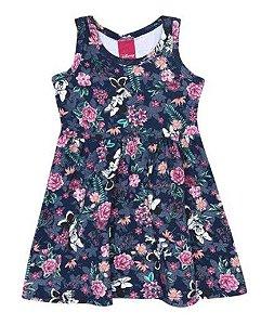 Vestido Floral  - Minnie - Azul Marinho - Disney