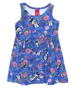 Vestido Floral  - Minnie - Azul Royal -  Disney