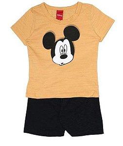 Conjunto de Camiseta e Bermuda - Mickey - Amarelo