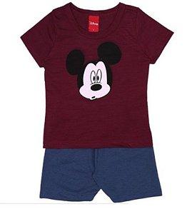 Conjunto de Camiseta e Bermuda - Mickey - Vinho