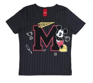 Camiseta do Mickey - Cinza Grafite Listrada- Disney