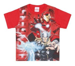 Camiseta Avengers-  Homem de Ferro e Thor - Vermelha - Brandili