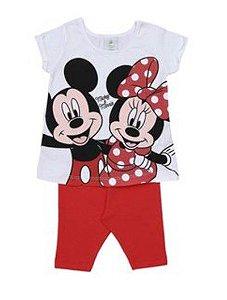 Conjunto de Blusa + Bermuda - Mickey e Minnie