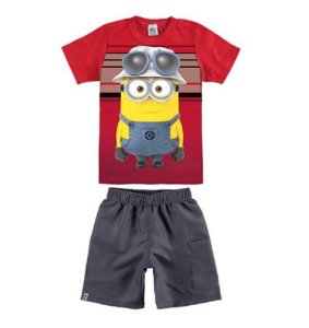 Conjunto de Camiseta e Bermuda - Minions - Vermelho - Malwee