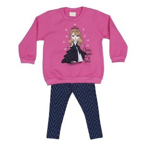 Conjunto de Blusão e Legging de Princesa - Rosa e Azul Marinho - Rolú