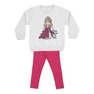 Conjunto de Blusão e Legging de Princesa - Cinza Claro e Rosa - Rolú