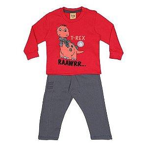Conjunto de Blusão e Calça do Dinossauro - Vermelho e Cinza - Rolú