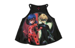 Blusa Miraculous - Ladybug e Cat Noir - Preta - Malwee