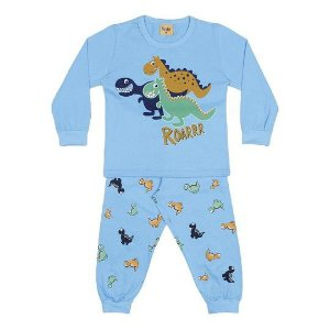 Pijama do Dinossauro - Manga Longa - Azul