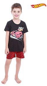 Pijama Infantil Hot Wheels - Preto e Vermelho