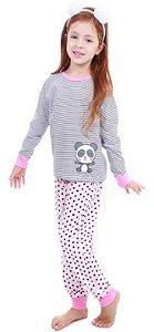 Pijama Ursinho Panda - Listrado Branco e Preto