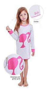 Camisola da Barbie com Glitter - Cinza Mescla