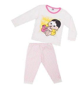Pijama da Magali- Turma da Mônica - Off White e Rosa