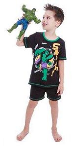 Pijama do Incrível Hulk- Avengers - Preto e Verde